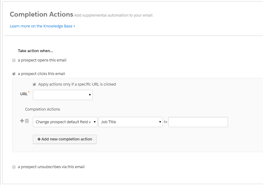 completion actions email pardot